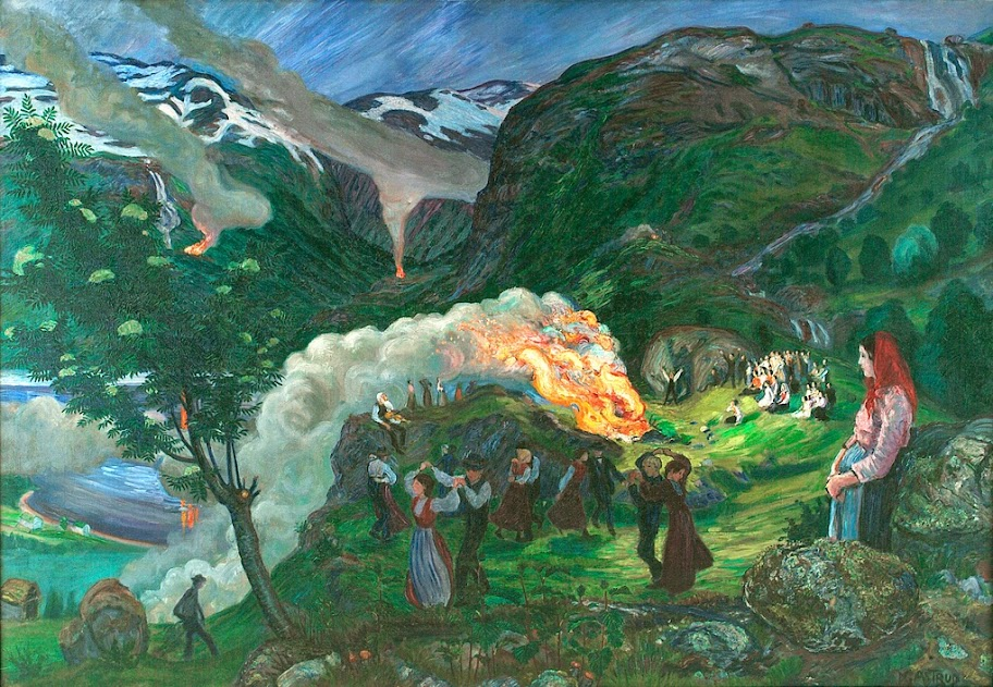 Nikolai Astrup - The Main Midsummer Eve Bonfire, 1915