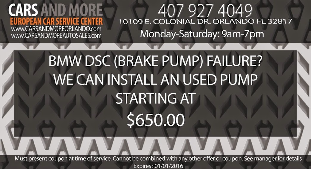 BMW DSC (Brake Pump) failure? We can install an used pump starting at $650.00 www.carsandmoreorlando.com