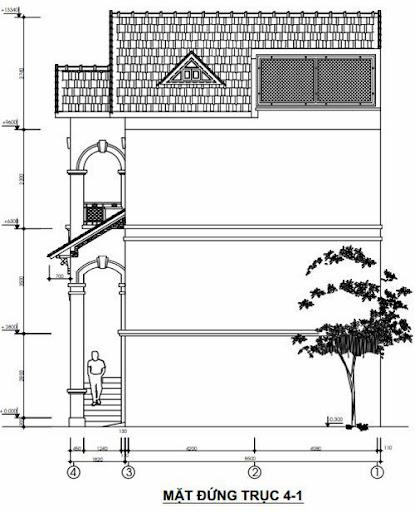 Mặt đứng trục 4-1 nhà phố