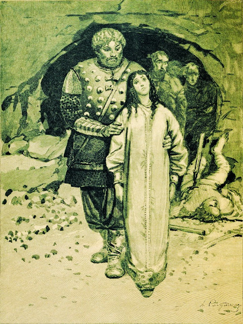 Andrei Ryabushkin - Dobrynya Nikitich. Illustration for the book Russian epic heroes, 1895