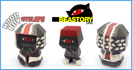 Hood Boy Cyclops Paper Toy