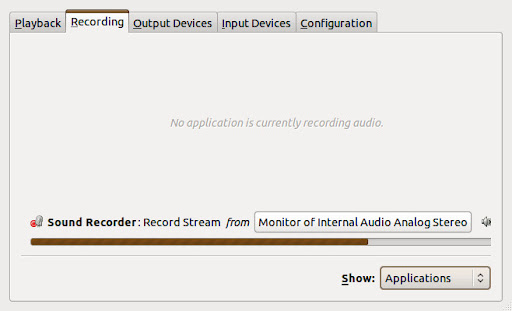 Pulse Audio Volume Control with Gnome Sound Recorder Operating