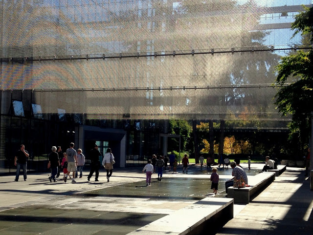The square between McCaw Hall and Exhibition Hall at the Seattle Center.