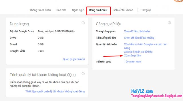 lựa chọn cách xóa tài khoản google, xóa gmail