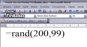No Word crie um Novo documento, em branco, digite =rand(200,99) e aguarde...