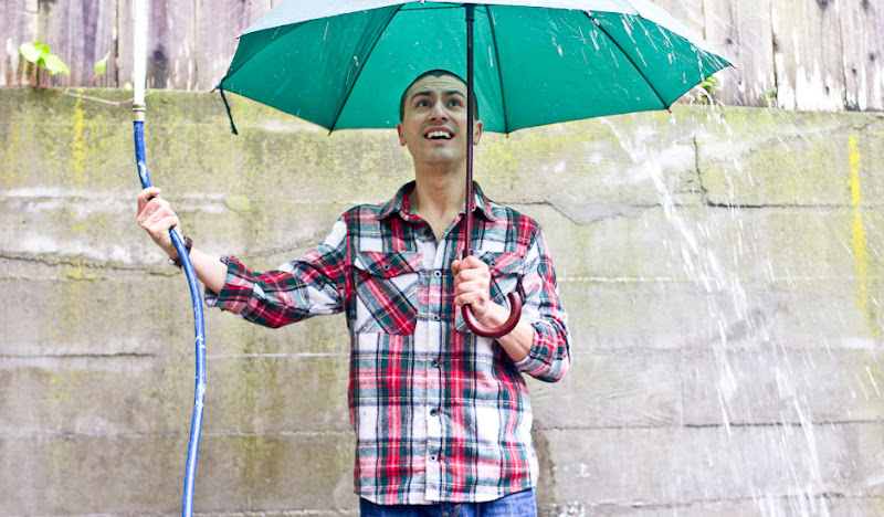 Red Plaid Flannel: Hose and Umbrella