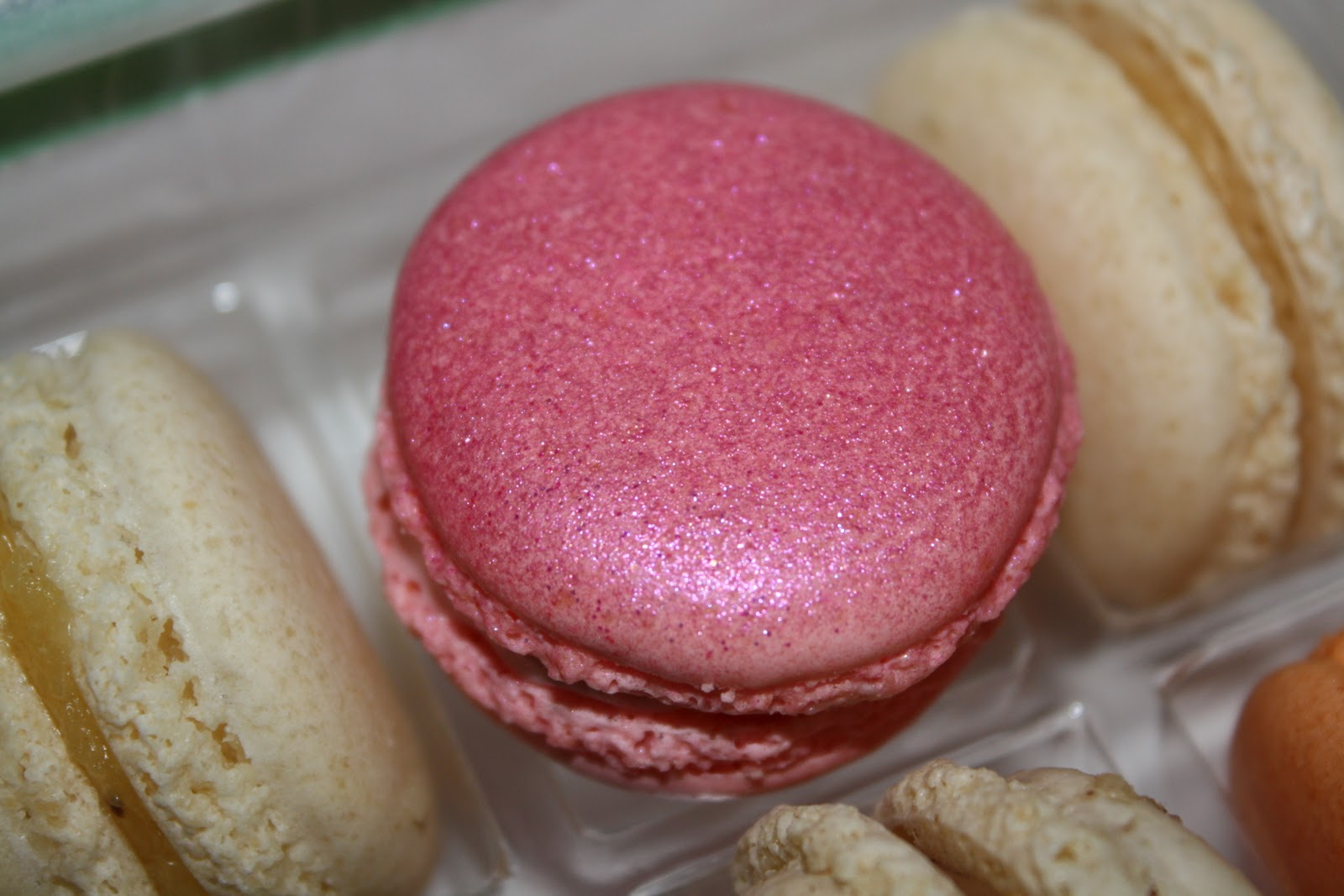 The strawberry macaroons even had edible pink glitter on top.