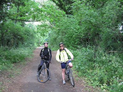Two cyclists on disused railway