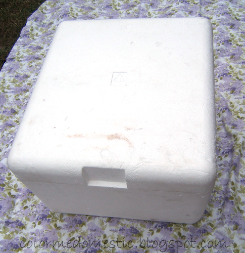 Large Styrofoam Coolers ~ Color me domestic day repurposed styrofoam box to ottoman