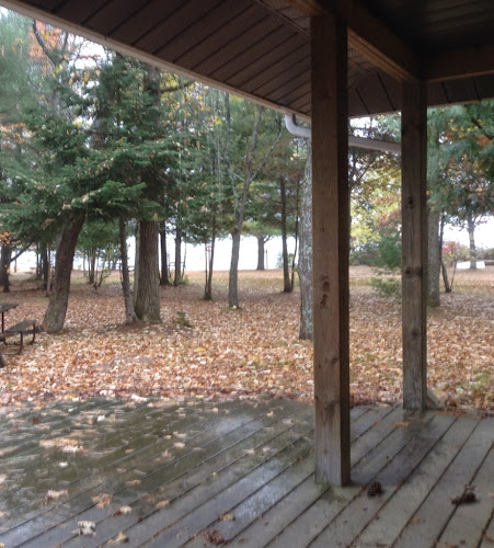 Fall camping at Bonnechere Provincial Park, Round Lake, Ontario