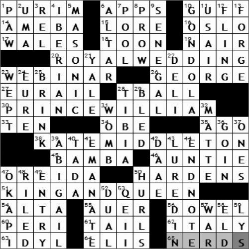 0428 11 New York Times Crossword Answers 28 Apr 11 Thursday