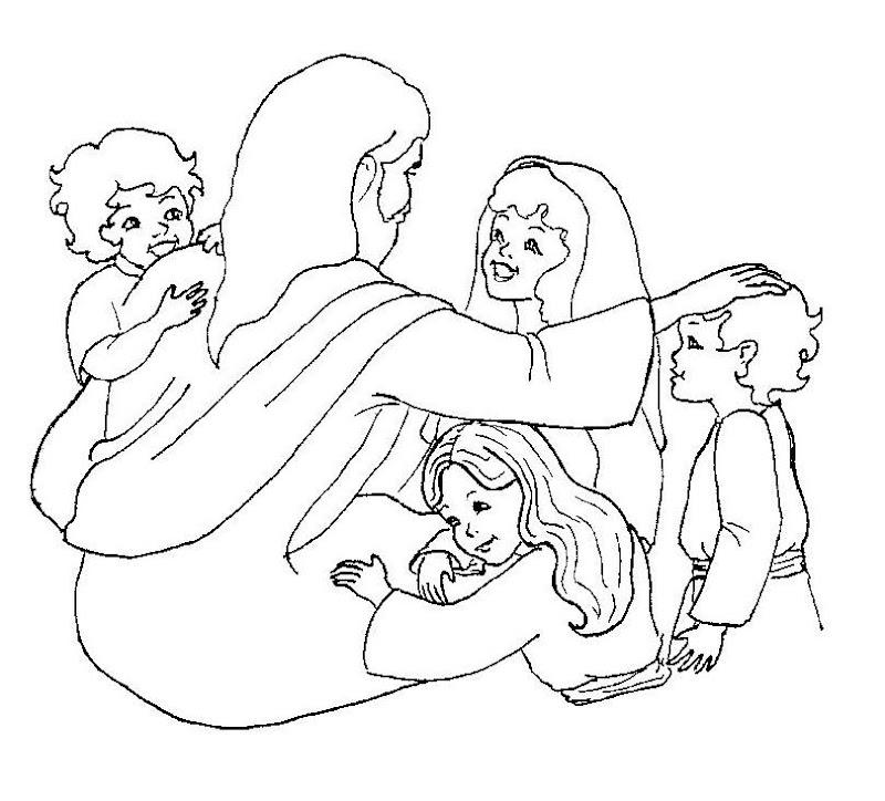 Jesucristo y los niños para colorear