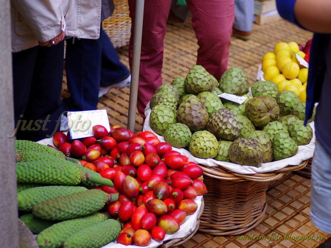 Плоды монстеры, маракуйя томат и черимойя