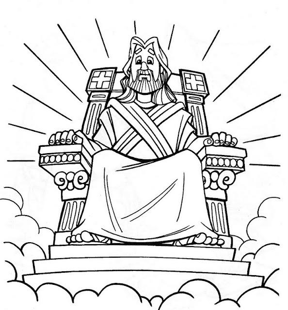 Jesús en el trono para colorear