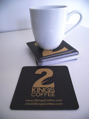 GotPrint postcard business card with round corners as coffee coaster