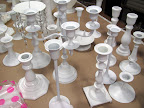 Candlesticks and candelabras spray-painted white