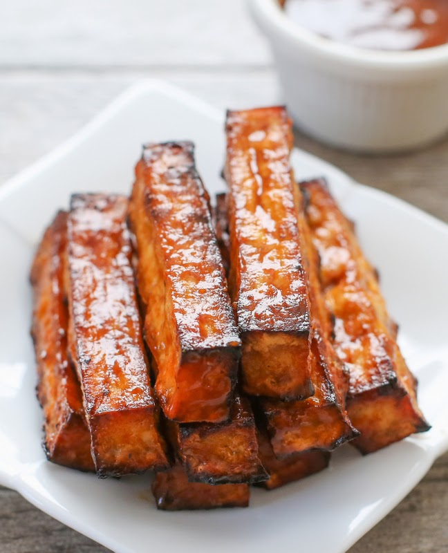 close-up photo of bbq tofu fries