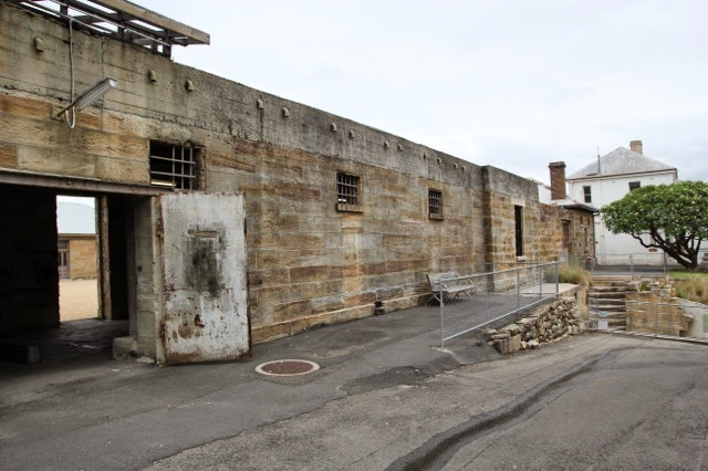 Cell block steps down to the isolation cells, Cockatoo Island, Sydney Harbour