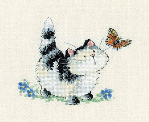 Purr-plexedcross stitch pattern