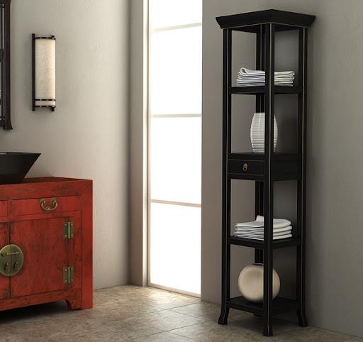 black bathroom stand shelves storage furniture