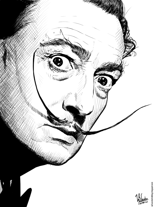 Ink drawing of Salvador Dalí, using Krita 2.4.