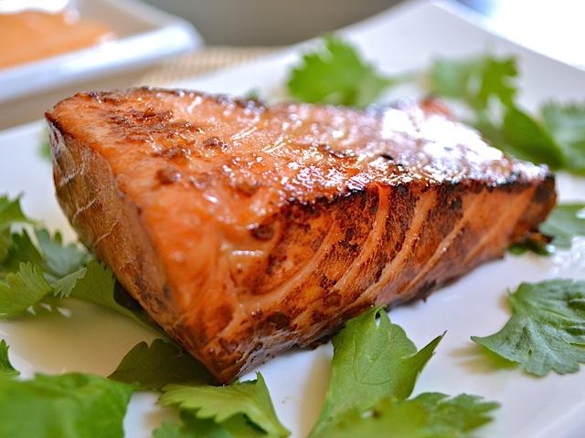 bare teriyaki salmon on plate