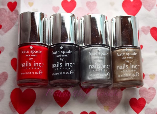 Nails Inc Polishes from Kate Spade: Big Apple Red, New York Noir, Soho Silver and Uptown Glamour