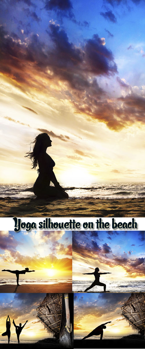 Stock Photo: Yoga silhouette on the beach