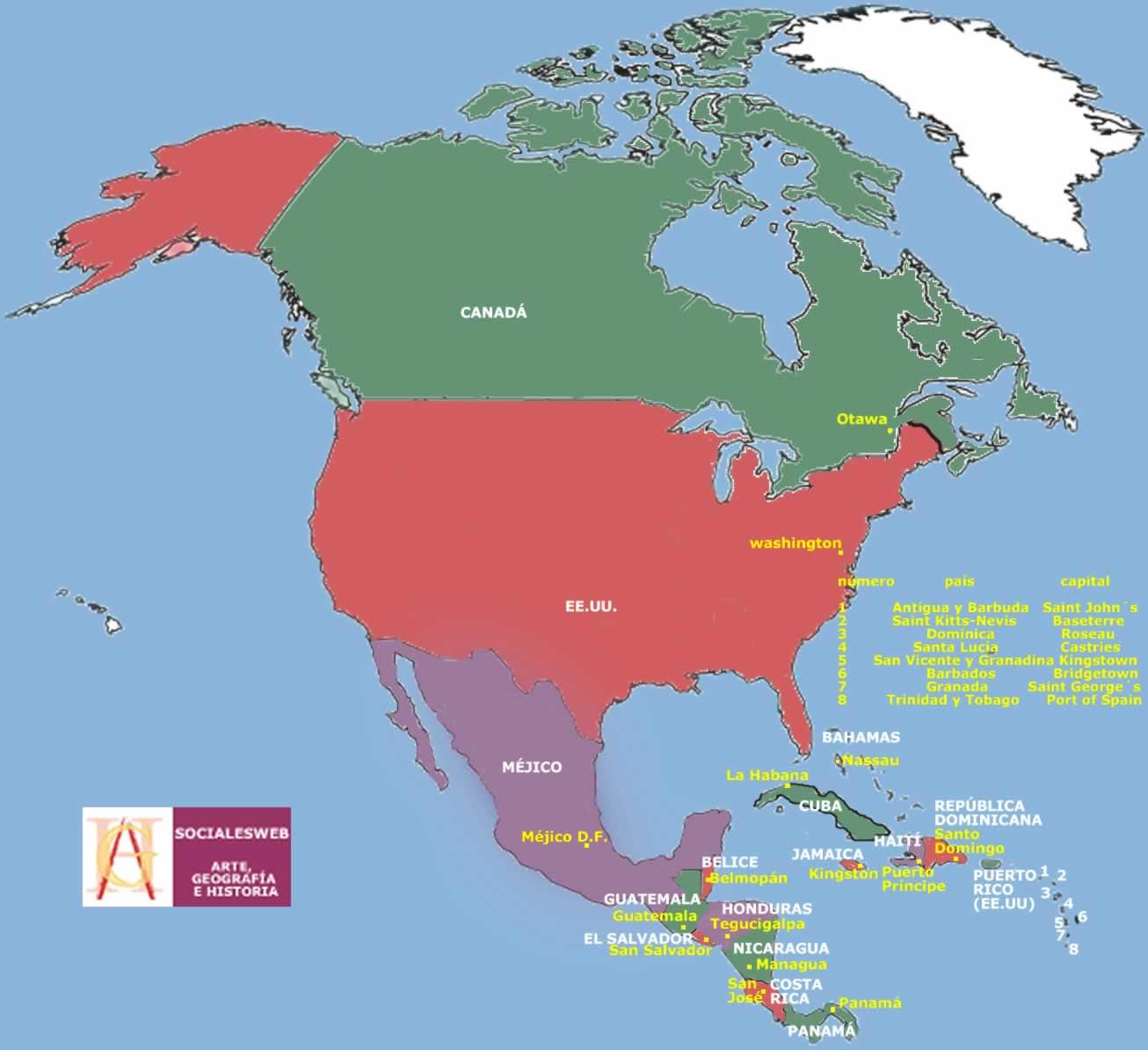 Amrica del norte mapa  Imagui