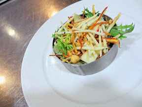 Starting off by learning how to make a new seasonal salad that boasts celery root, chicory, toasted hazelnuts, apple and fried sweet potato strings at Blue Hour Portland for a salad that is crisp and fun with textures