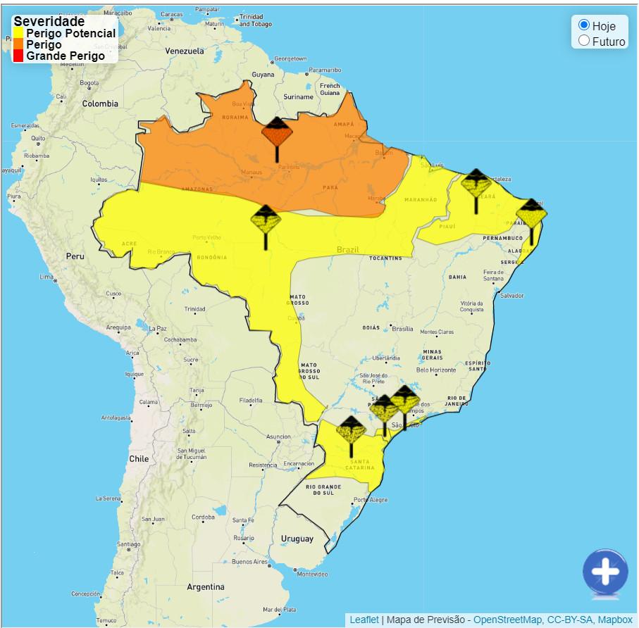 Outono começa com alerta de fortes chuvas na Região Norte e boa parte do Brasil. (Fonte: Inmet/Reprodução)