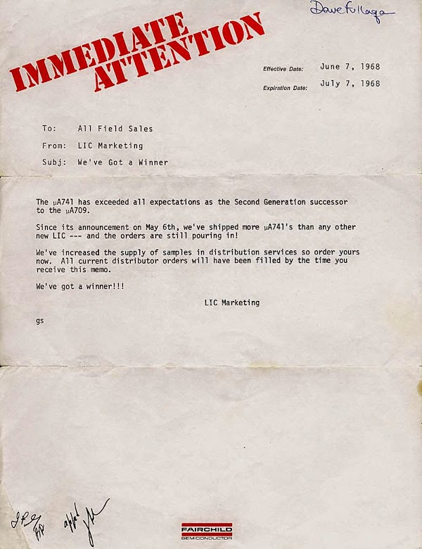 We've got a winner! 741 op amp marketing letter from 1968. Courtesy of Dave Fullagar.