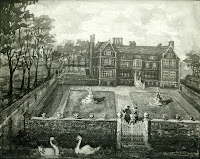 """""""The ancient painting in oil colour now in the possession of Miss Finch represents this house. """" From A Record of Shelford Parva by Fanny Wale P39"""