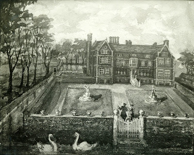 """The ancient painting in oil colour now in the possession of Miss Finch represents this house. "" From A Record of Shelford Parva by Fanny Wale P39"