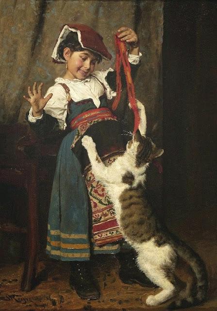 Peder Severin Krøyer - Junges Mädchen in Tracht mit Katze spielend