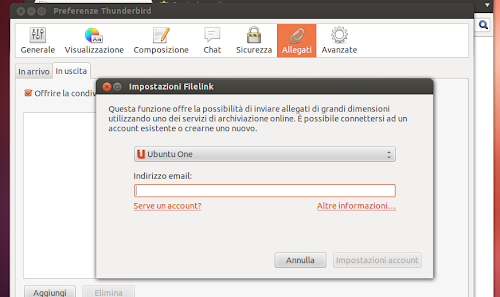 Mozilla Thunderbird 15 supporto Ubuntu ONE