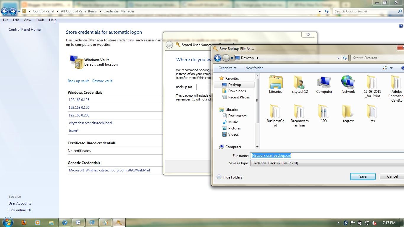 how to set network password windows 7