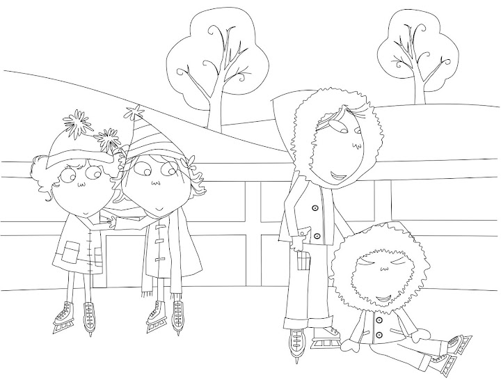 coloring pages to print charlie and lola | Charlie and Lola Ice Skating Coloring Page | Coloring Funs