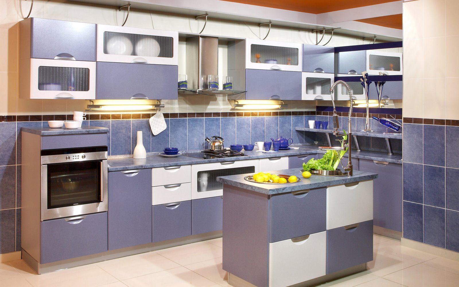 Home christmas decoration modern kitchen designs in blue for Looking for kitchen