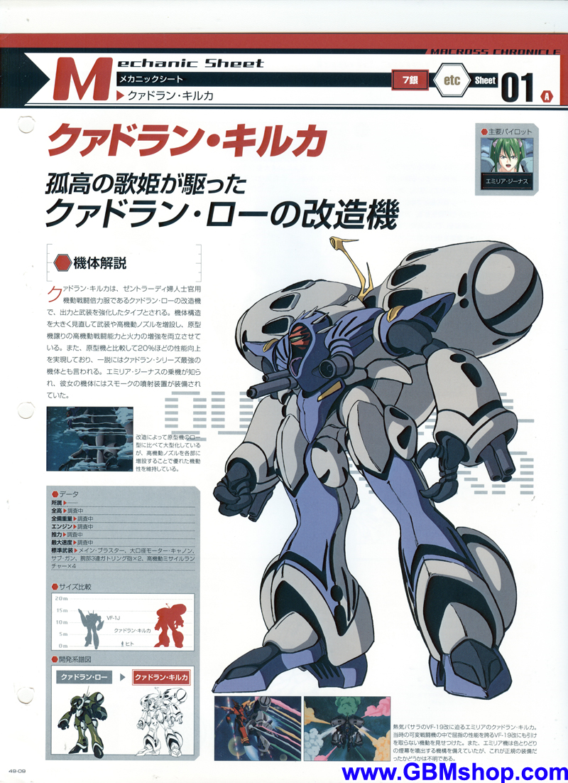 Macross 7 Queadluun-Quilqua Battle Suit Mechanic & Concept Macross Chronicle