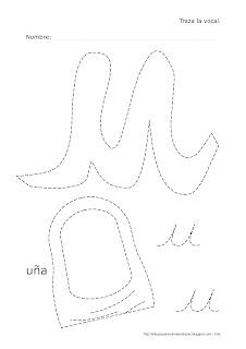 Dibujo de la vocal U de uña para trazar