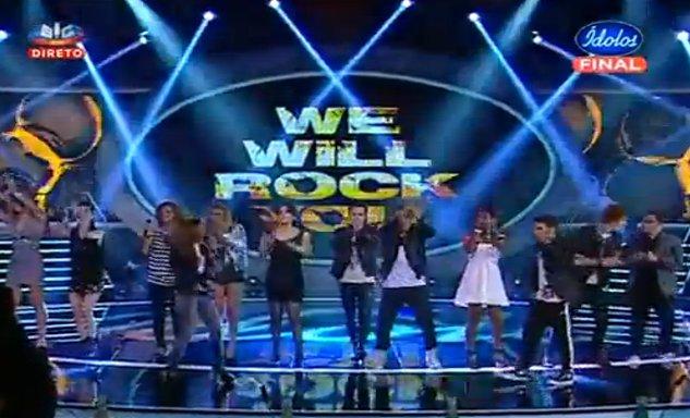 """Grande Final dos Ídolos 2012 concorrentes cantam """"We Will Rock You"""" dos Queen"""