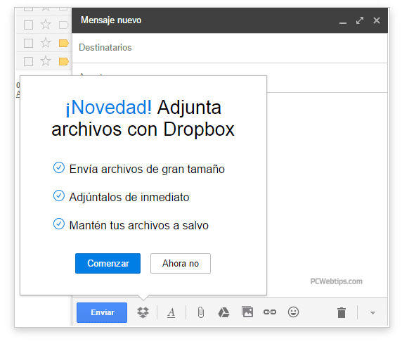 extension dropbox para gmail