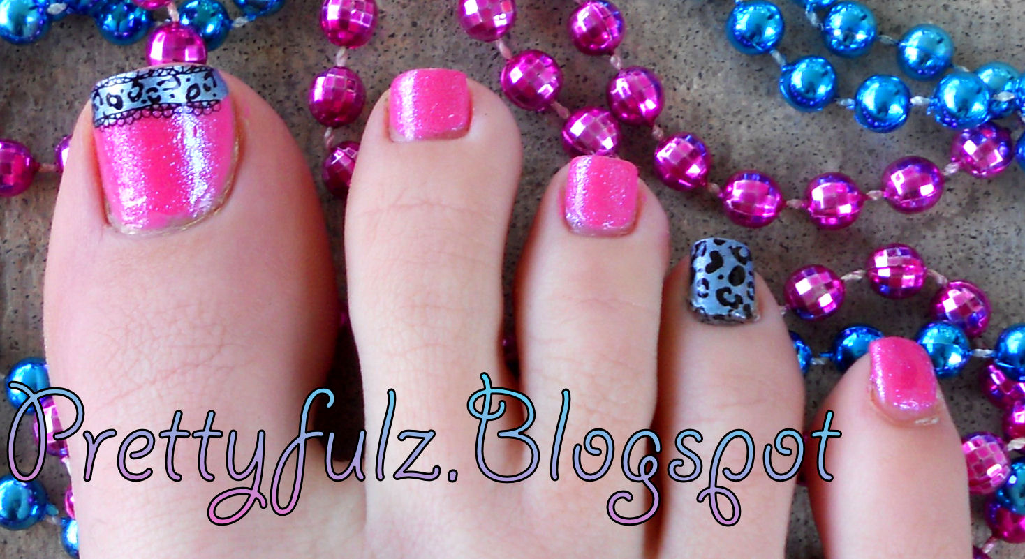 Prettyfulz Konad Pedicure Cute Spring Bright Pink Blue Pedicure