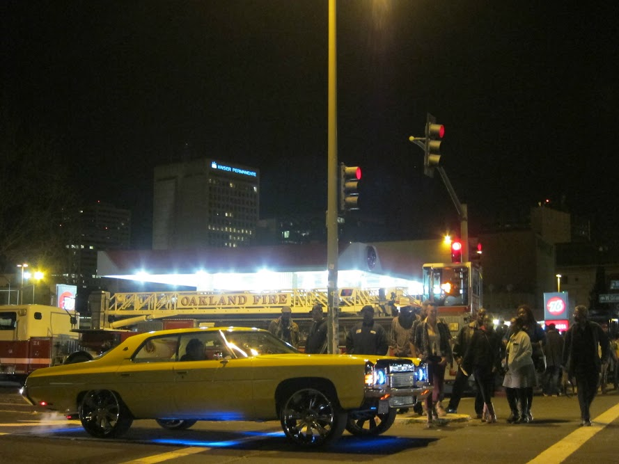 low riders in front of Giant Burger in Oakland