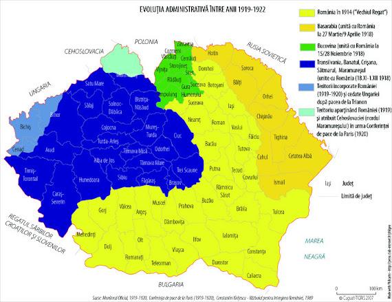 Harta administrativ-teritorială a României între 1919 - 1922