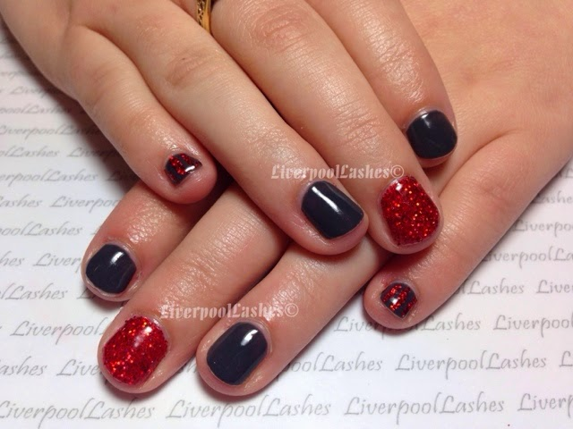 liverpoollashes liverpool lashes moyou nail art shellac asphalt lecente deep red glitter henry beautifuly nails liverpool beauty blogger