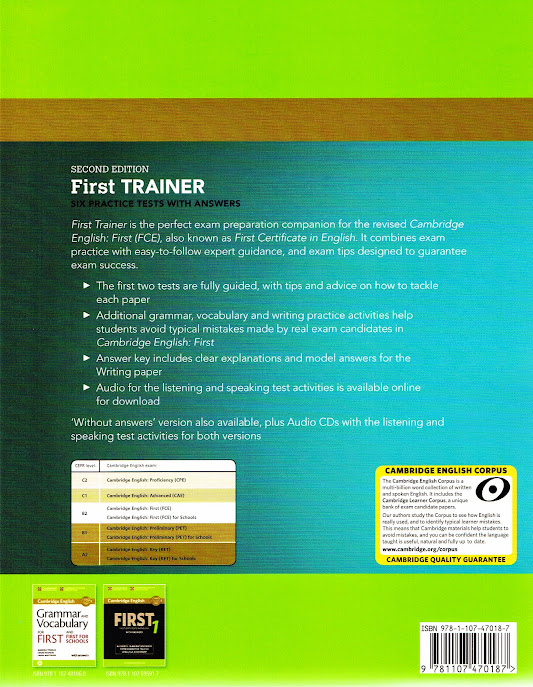 cambridge first trainer  Cambridge FIRST TRAINER FCE Six Practice Tests +Answers 2ND ED Exam ...