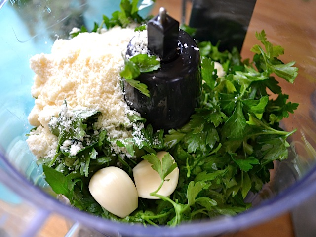 pesto ingredients added to food processor