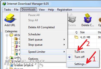 Thủ thuật giới hạn tốc độ tải file trong IDM 3